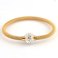 Wholesale Fashion L titanium steel silver gold rose gold cable wire bracelet vintage full crystal rhinestone magnetic ball clasp women bangle