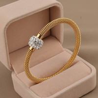 Wholesale 316L titanium steel silver gold rose gold cable wire bracelet vintage full crystal rhinestone magnetic ball clasp women bangle SB0156