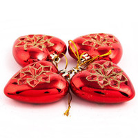 Wholesale 7 cm Lovely Red Golden Heart Christmas Tree Ornament Party Decoration Premiums Gift SD134