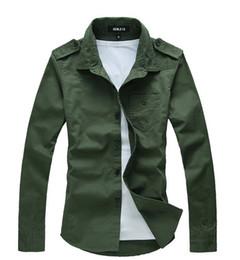 NEW Men's casual Slim long Sleeve Shirts Men's Military style shirt Dress Shirts For Men Business Shirts 114