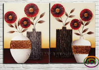 One Panel art deco vases - Orginal Handcraft Hot selling Oil Painting Abstract Wall Deco Art on canvas Vase of Flowers no frame PC