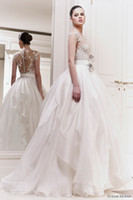 Ball Gown Reference Images crew 2014 Sexy Zuhair Murad Lace Sash Covered Cuttons Ball Gown Chiffon Garden Wedding Dresses With Off Crew Neckline