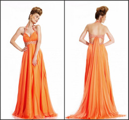 Wholesale Exquisite elegant fresh orange color sequin back hollow sexy floor length halter Evening Dress Prom Gowns Formal Party Dress gowns