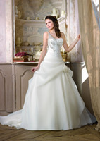 Wholesale 2014 Best selling One shoulder Ruched Beaded Hand made flowers Sweep train Organza satin Ball gown Wedding Dresses