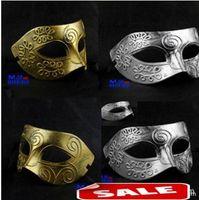 achat en gros de partie masqué grec-Sexy Antique Roman grec Fighter Hommes Masque vénitien Mardi Gras Party Masquerade Halloween Costume Demi Masques Voile Or argent