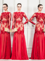Reference Images Strapless Tulle 2014 Gergous Red Lace See Through Sexy Dubai Long Sleeve Prom Dress