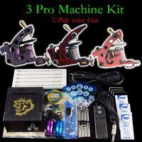 2 Guns Beginner Kit  Tattoo Kit- 3 top Handmade tattoo Machine Guns Power Supply Foot Pedal Needles Grip Tip-U-Pick Color