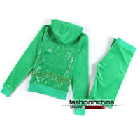 sweatsuits - Sequin Velour Tracksuits For Women Women Jogging Suits Sportswear High Quality Hooded Sweatsuits Long Sleeve Hoodies Suits Free Shippin
