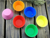 Wholesale Silicone Cake Molds cm Colorful Muffin Cup Cake Moulds FDA SGS Non toxic Tasteless Non stick Bakeware Cupcakes