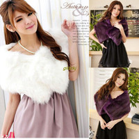 Wholesale Ladies Faux Fur Shrug Bolero Cape Wrap Shawl Stole Tippet Coat Bridal Wedding A