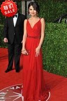V-Neck selena gomez - Selena Gomez V neck A Line Spaghetti Strap Sash Chiffon Oscars Red Carpet Celebrity Dresses Evening Dress Zipper Back