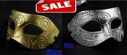 Antique Roman Greek Fighter Men Mask Venetian Mardi Gras Party Masquerade Halloween Costume Wedding Half Face Masks props Gold silver