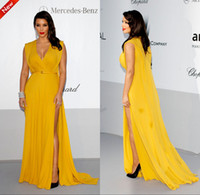Reference Images V-Neck Chiffon 2014 New Elie Saab Sexy Elegant V-Neck A-Line Chiffon Prom Evening Dresses Celebrity Yellow Carpet Party Dress Kim Kardashian Dresses Cheap