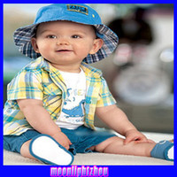 Wholesale Hawaiian shorts plaid shirt plaid three piece children s clothing boy shirt1214986767