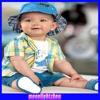 Wholesale Hawaiian shorts plaid shirt plaid three piece children s clothing boy shirt1214986767