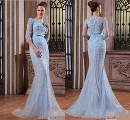 Wholesale Elie Saab Exquisite Blue Jewel Neck Sheer Long Sleeve Mermaid Formal Evening Dresses Manual Petals Beads Crystal Zipper Prom Gowns
