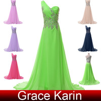 Wholesale 2014 Sexy Beaded Prom Dresses Floor Length A Line Evening Dresses One Shoulder Chiffon Party Gowns CL4506