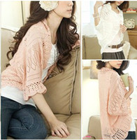 Wholesale 2014 New Fashion women Openwork cardigan sweater sunscreen shirt blouse thin little Pi Jiannv coat