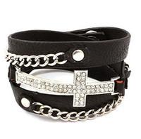 fashion sideways cross bracelet - Latest Unique Real Leather Metal Chain Crystal Rhinestone Sideways Cross Wrap Bracelet