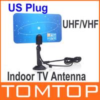 Wholesale Digital Indoor TV Antenna HDTV DTV HD VHF UHF Flat Design High Gain US EU Plug New Arrival TV Antenna Receiver V560