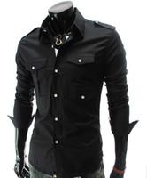al por mayor s de los hombres con estilo ocasional-Hombres de moda de lujo con estilo informal hombro de diseño de la camisa de vestir camisas de músculo ajuste 5017