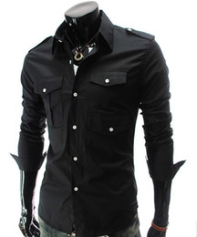 Wholesale Men s Fashion Luxury Stylish Casual shoulder board Designer Dress Shirt Muscle Fit Shirts