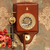 antique wooden telephone - ship by EMS Paramount fashion phone red wood wall mounted antique telephone golden vintage wooden decor telephone royal telephone