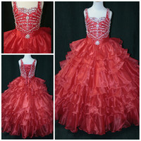 Wholesale 2014 Amzaing Beadings National Princess Little Rosie Grand Red Little Girls Prom Party Pageant Dresses Gown
