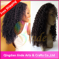 Wholesale Stock Indian remy Hair Kinky Curly Glueless Lace Front Wigs for African American Women