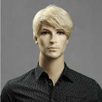 Wholesale Men s Wigs synthetic hair wig Kanekalon blonde mens wig UK Wigs for Men Brown color discount wigs very good quality