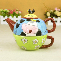 Wholesale ship by EMS Tea set two in one ceramic cup business gift clay pot set cool water pot flower tea teapot