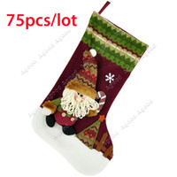 Wholesale 75pcs Free FeDex shipping Lovely Cute Santa Clause Santa Christmas Holiday Stocking Sock Gift Bags Ornament Decoration