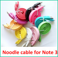 Cheap 1M 3FT Micro USB 3.0 Noodle Flat Data Sync Cable Charger Line Cords for Samsung Galaxy Note 3 III N9000 N9006 N9008 Free Shipping 100pcs