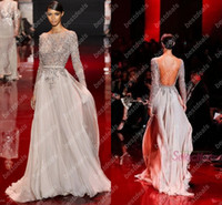 Wholesale Real Image Elie Saab Prom Dresses Distinctive Bateau Appliqued Beads Sheer Long Sleeve Evening Gowns Backless Chiffon Evening Dresses
