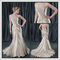 Trumpet/Mermaid Reference Images Sweetheart Wholesale - Mermaid Stretch Ding Sweetheart Beading Ruffle Lace-up High Quality Wedding Dresses Wedding