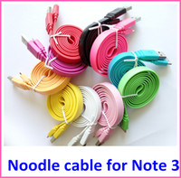 Cheap 50pcs 1M 3FT Micro USB 3.0 Noodle Flat Data Sync Cable Charger Line Cords for Samsung Galaxy Note 3 III N9000 N9006 N9009