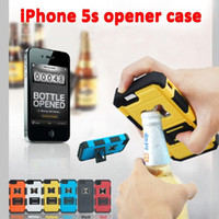 Wholesale Hybrid Armor Beer Bottle Cap Opener Phone Cover Stand Function PC Silicone Hard Case For iPhone S S