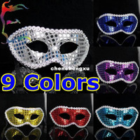 PVC bats big lots - half face round paillette party masks colors Halloween Venice bat Masquerade mask