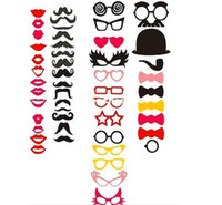 Wholesale Funny Mask Wedding Party Photography Photo Props Red Paper Lips Glasses Mustache ON A STICK