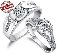 Wholesale His and Hers Sterling Silver Simulated Diamond Promise Rings Wedding Rings