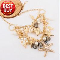 Asian & East Indian asian fashion designers - 2013 New Classic Designer Chain Layered Shell Starfish Pearl Choker Bib Vintage Statement Bib Necklace Fashion Jewelry For Women