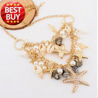 Wholesale 2013 New Classic Designer Chain Layered Shell Starfish Pearl Choker Bib Vintage Statement Bib Necklace Fashion Jewelry For Women