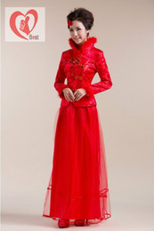 Wholesale Hot Sales women s autumn winter new collar gauze mop cheongsam dress the bride tang suit wedding dress