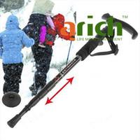 Trekking Poles Rubber 0.5 to 0.75 4-Section Anti-Shock Aluminium Telescopic Mountaineering Hiking Trekking Walking Skiing Pole Stick
