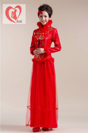 Wholesale Hot Sale women s autumn winter fashion villi stand collar Chinese wind gauze bride cheongsam wedding dress