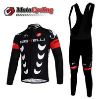 Wholesale Castelli Winter Fleece Cycling Jersey Sets High Quality Warm Compressed Long Sleeve Cycling Jerseys and Coolmax D Pads Bib Pants for Men