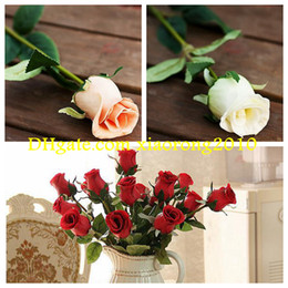 Wholesale HOT cm quot Length Artificial Flowers Simulation Rose Real Touch PU Roses Half Open Home Decoration Wedding Flower