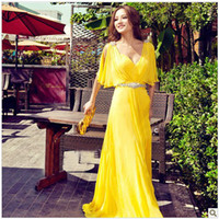 Reference Images V-Neck Chiffon Sexy Deep V-Neckline Backless Evening Dresses Beads Yellow Chiffon Party Homecoming Pageant Prom Dress