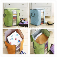 Fabric bamboo fabric clothing - Large capacity Bamboo Charcoal Bedquilt Blanket Sheet Clothing Storage Bag Organizer colors