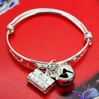 Charm Bracelets alloy access - Access to safe infant baby child lock printing pray one hundred children s bracelet bangle